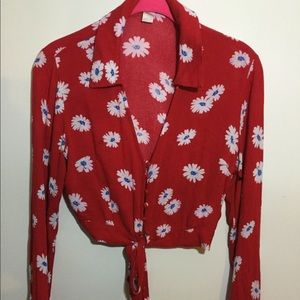 red cropped floral blouse